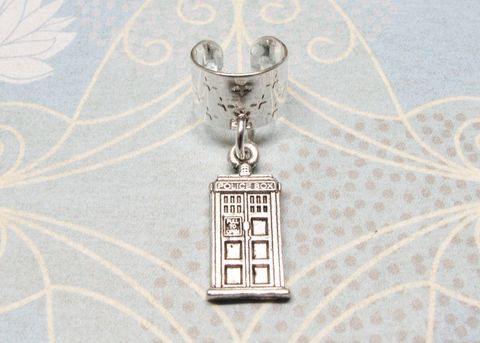 Silver,Police,Box,Ear,Cuff,,inspired,by,Doctor,Who,and,the,TARDIS,tardis, ear cuff, police box, doctor who, no piercing, silver, blue box, dr who, whovian, clip on earring, stars, police public call box, phone box, charm, dangle, geeky, nerdy, jewelry, kids