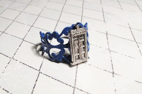 Police,Box,Ring,on,blue,filigree,inspired,by,Doctor,Who,and,the,TARDIS,police box ring, blue tardis ring, doctor who jewelry, tardis jewelry, dr who jewelry, fancy tardis ring, blue filigree ring, geeky, science fiction, doctor who, blue box, phone box, geek chic, nerdy, nerd