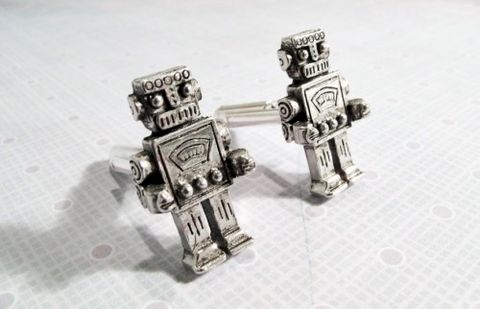 Robot,Cuff,Links,,Cufflinks,Retro,Rockem,Sockem,Sci,Fi,Geek,robot cuff links, cufflinks, robot accessories, retro, rockem sockem, sci fi, science fiction, geek, geekery, geek chic, cscharms, c's charms, cs charms, etsy, robot, silver, pewter, nerd, wedding