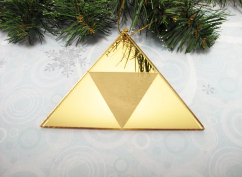 Golden,Triangle,Christmas,Tree,Ornament,,inspired,by,Zelda,Triforce,triforce, ornament, christmas, triangle, decoration, legend of zelda, zelda, christmas tree, gamer, geek, gold, yellow, golden