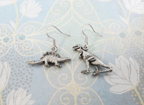 Stegosaurus,and,T.,Rex,mismatched,earrings,,inspired,by,Firefly,dinosaur earrings, dino, t-rex, trex, tyrannosaurus rex, stegosaurus, earrings, mismatched, geek, serenity, firefly, wash, curse your sudden but inevitable betrayal, jewelry, nerd, silver, pewter