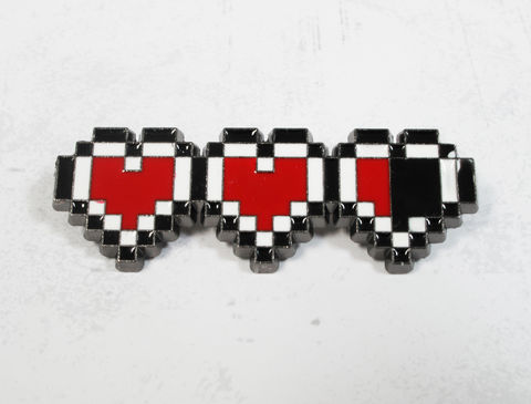 8-Bit,Hearts,Brooch,,pin,heart,containers,gaming,geek,legend of zelda, pin, brooch, retro, pixel, 8 bit, hearts, heart container, black, red, color, valentine, geeky, nerdy, gamer geek