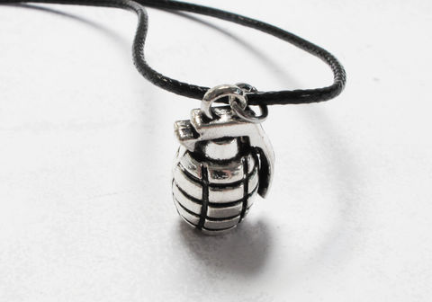 Grenade,Necklace,,3D,charm,silver,on,cotton,cord,grenade, necklace, weapon, army, zombie apocalypse, silver, 3D, charm, goth