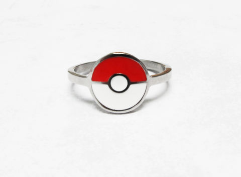 Pokéball,Ring,pokemon, pokémon go, pokeball, red and white ball, ring, geeky, jewelry, nerdy, stainless steel, hypoallergenic
