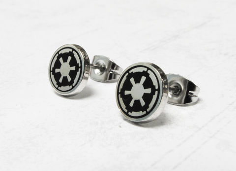 Star,Wars,Empire,Stud,Earrings,,stainless,steel,star wars, earrings, studs, men, stainless steel, jewelry, 316l, surgical steel, empire, dark side, imperial, geeky, silver