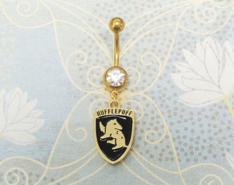 Harry,Potter,Hufflepuff,Belly,Ring,hufflepuff, belly button ring, harry potter, houses, house charm, navel barbell, geek chic, nerdy, pouffsouffle