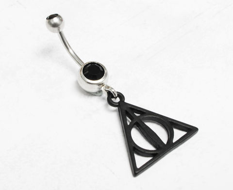 Deathly,Hallows,Black,Belly,Ring,harry potter, deathly hallows, belly ring, belly button barbell, navel ring, black, metal, geeky