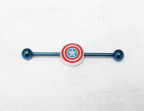 Captain,America,Industrial,Ear,Barbell,captain america, industrial, ear bar, barbell, stainless steel, piercing, comic book, geeky, geek, nerd, comics, marvel