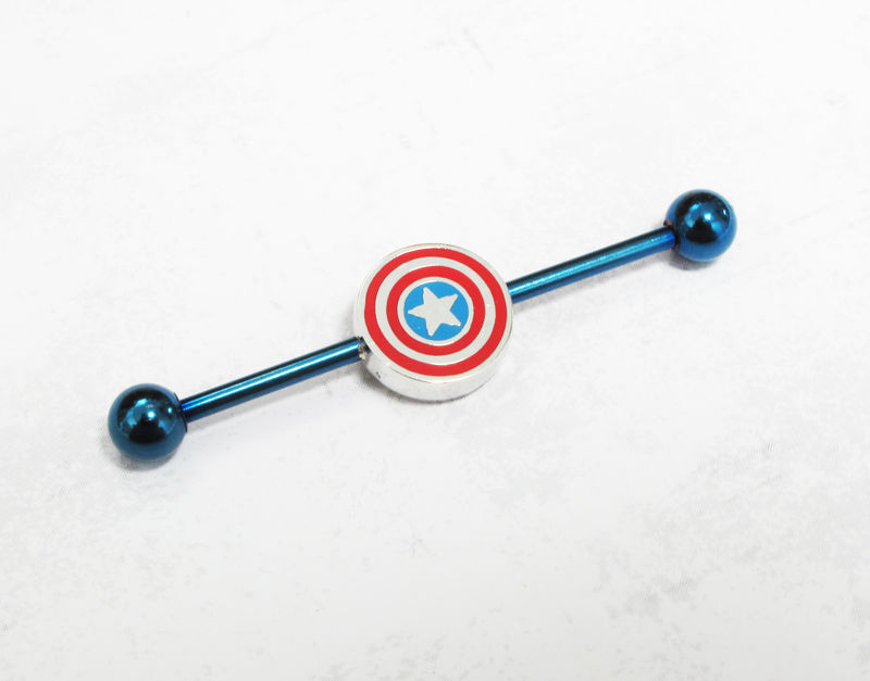 Captain America Industrial Ear Barbell - product images  of