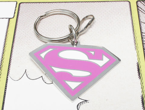 Supergirl,Key,Chain,supergirl, super girl, keychain, key chain, keyring, pink superman, metal, geeky, super hero, comics