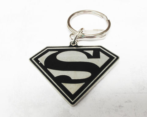 Superman,Enamel,Key,Chain,superman, keychain, key chain, keyring, super hero, black and white, enamel, silver, comic books, geeky