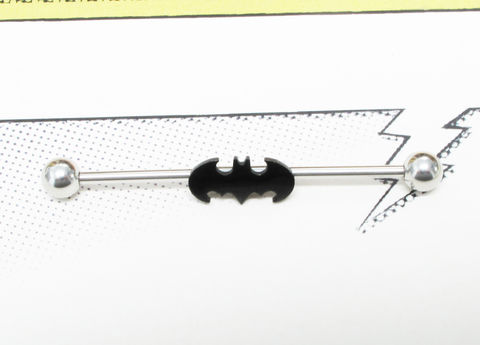 Batman,Industrial,Barbell,,black,bat,symbol,batman, industrial, ear barbell, body piercing jewelry, surgical steel, stainless steel, mens, comic book, super hero, geeky