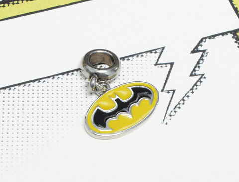 Batman,European,Bracelet,Charm,,yellow,batman, bracelet charm, european charm, for pandora, stainless steel, classic, yellow, bat logo, comic book geek, geek chic