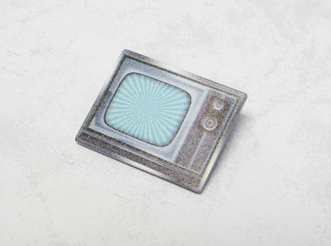 Retro,60s,TV,Set,Pin,retro, pin, enamel pin, color pin, television, tv, 1960s, 60s, twilight zone, geeky, tv set, retro design, atomic age