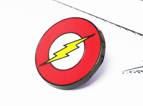 The,Flash,Enamel,Pin,the flash, enamel pin, lapel pin, tie pin, tie tack, red logo, lightning bolt, DC comics, metal pin, official