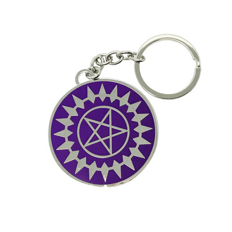 Black,Butler,Pentagram,Keychain,black butler, keychain, purple, pentagram, pentacle, sebastien, ciel, seal, contract, key chain, keyring