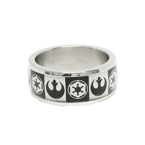 Star,Wars,Multi,Symbols,Ring,Star Wars, ring, stainless steel, mens, ring band, rebels, empire, rebel alliance, symbols, black and white, geeky