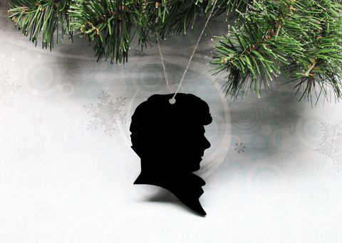 Sherlock,Holmes,Christmas,Tree,Ornament,,decoration,silhouette,black,sherlock holmes, benedict cumberbatch, silhouette, ornament, decoration, christmas, wall hanging, xmas, black, acrylic, plastic