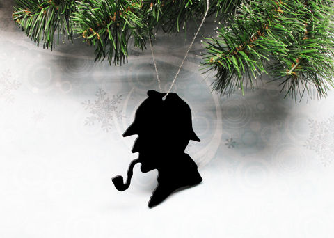 Classic,Sherlock,Holmes,Christmas,Ornament,decoration,silhouette,black,sherlock holmes, christmas ornament, decoration, wall hanging, acrylic, plastic, classic, silhouette, arthur conan doyle, deerhunter hat, black