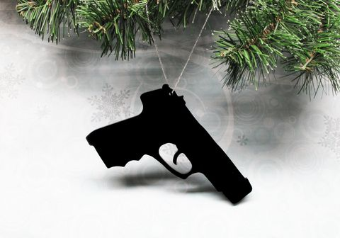Gun,Christmas,Ornament,,handgun,pistol,decoration,xmas,gun, christmas ornament, decoration, handgun, pistol, acrylic, black, firearm, war, cops and robbers, xmas