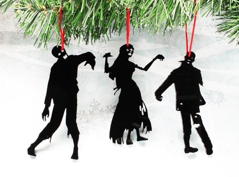 Zombie,Silhouette,Christmas,Ornaments,,set,of,three,,black,,halloween,Zombie Christmas Tree Ornament, silhouette, zombie, decoration, xmas, brains, undead, geek, walking dead, black, living dead, umbrella corporation, resident evil, weird, unique, geeky ornaments, weird christmas, acrylic, perspex, halloween, goth, nerd, zo