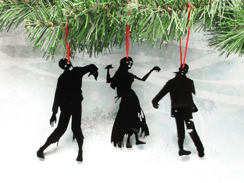 Zombie Silhouette Christmas Ornaments, set of three, black ...