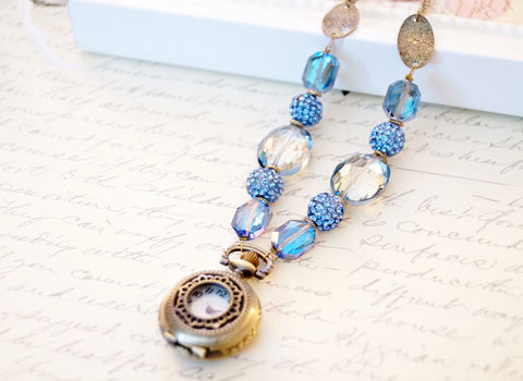 Sky,Blue,Pocket,Watch,Necklace,,Statement,Necklace,pocket watch necklace, statement necklace, blue necklace, blue crystal necklace, womens watch necklace, brass necklace, steampunk necklace, steampunk fashion, watch fashion, watch jewelry, womens watches,