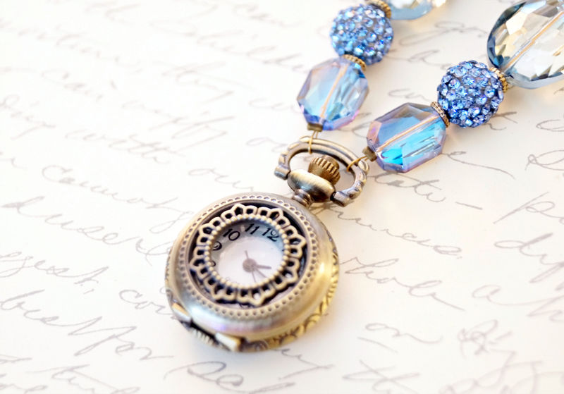 Sky Blue Pocket Watch Necklace, Statement Necklace - product image