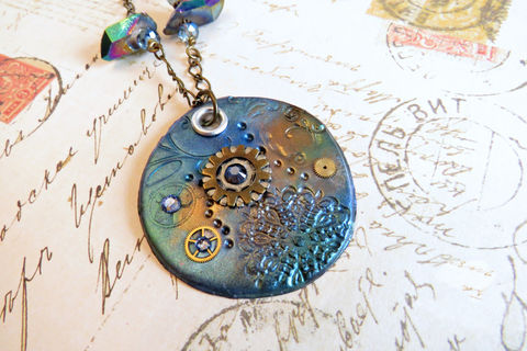 Peacock,Blue,Steampunk,clay,pendant,,Pendant,,Watch,Gear,Jewelry,Necklace,steampunk_clay,pendant,steampunk_pendant,steampunk_necklace,watch_gear_necklace,clay_jewelry,mixed_media_necklace,handcrafted_pendant,blue_necklace,peacock_blue,brass_necklace,goth_pendant,polymer_clay