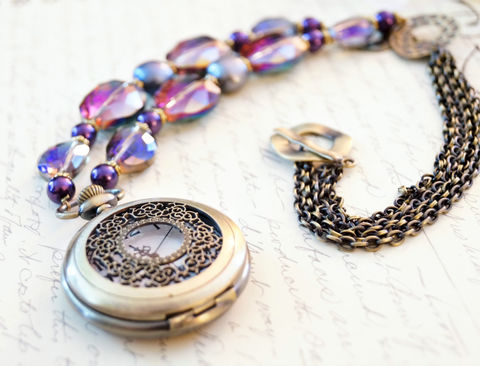Bold,Purple,Pocket,Watch,Necklace,,Long,Necklace,Jewelry,high_fashion_jewelry,fine_jewelry,statement_necklace,pocketwatch_necklace,watch_necklace,movement_necklace,crystal_necklace,statement_jewelry,purple_necklace,brass_necklace,made_in_canada,steampunk_necklace,glamor_necklace