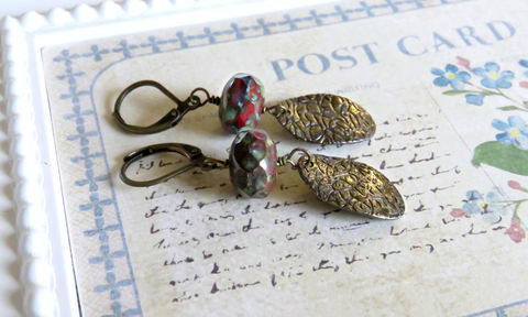 Vintage,Style,Burgundy,Czech,Earrings,,Brass,Stamped,Beaded,Earrings,Jewelry,Czech_beaded,earrings,vintage_style,vintage_earrings,brass_earrings,simple_earrings,red_earrings,picasso_earrings,antique_brass,123team,onfireteam,made_in_canada,canadian_made