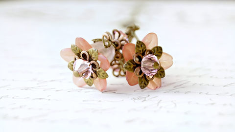Lucite,Flower,Earrings,,Vintage,Style,Blushing,Pink,Jewelry,Earrings,Dangle,lucite_flowers,lucite_earrings,hand_dyed,handmade_earrings,brass_earrings,flower_earrings,chic_earrings,fairy_earrings,pixie_earrings,nature_earrings,eco_earrings,romantic_earrings,pink_earrings