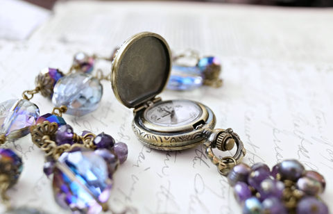 Owl,in,Pearls,-,Feminine,Steampunk,Necklace,OOAK,Jewelry, Necklace, Glass, purples_and_blues,peacock_blue_pearl, pocket_watch,owl_necklace,evening_necklace,amethyst_necklace,victorian_necklace,purple_necklace,dragonfly_necklace,elegant_necklace,clockwork_necklace,clockpunk,victorian_steampunk, chinese c