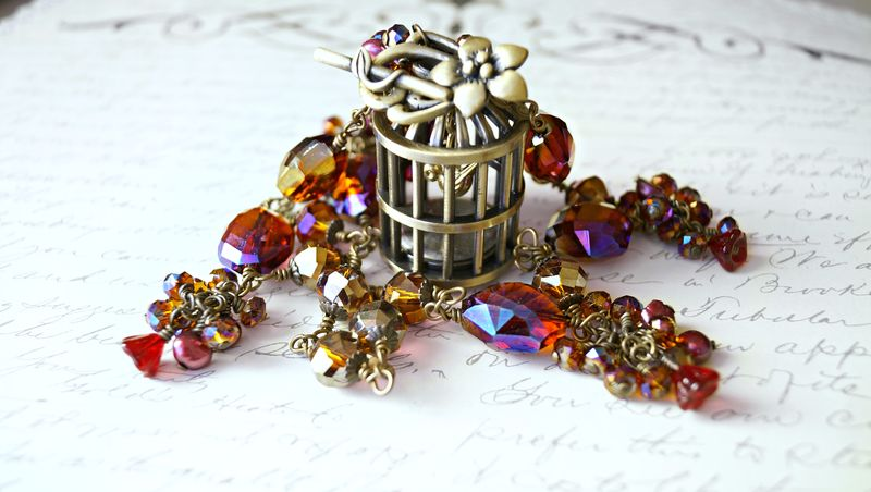 The Elizabeth Bird Cage Pocket Watch Necklace - OOAK - product image