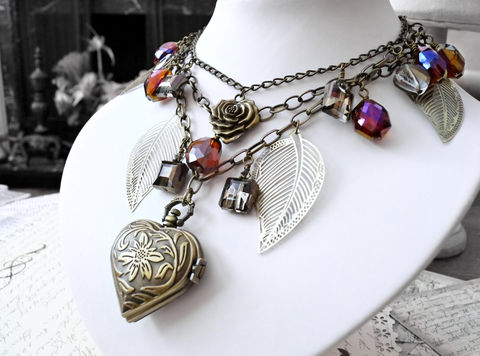 The,Andromeda,Necklace,-,Amazonian,Steampunk,design.,jewelry, necklace, choker, steampunk necklace, tribal necklace, edwardian necklace, victorian necklace, brass necklace, brass leaves, heart pocket watch, pocket watch necklace, amazon necklace