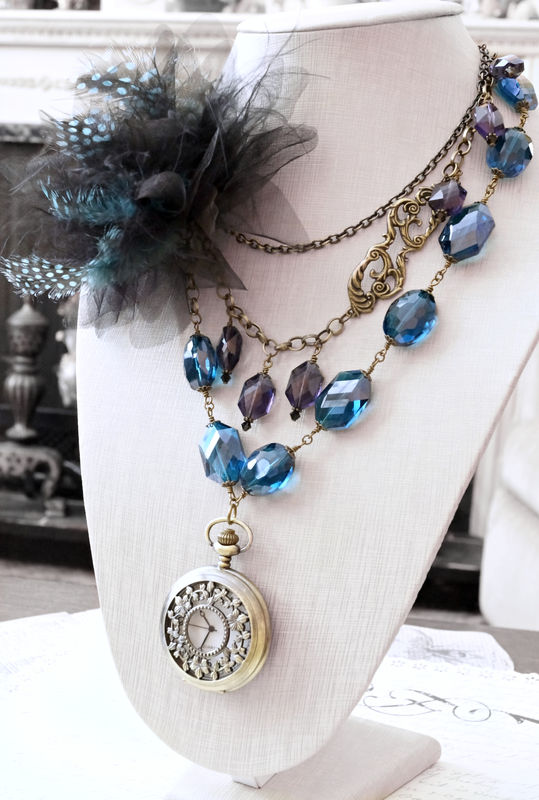 Fidelia Necklace - Peacock Feather Steampunk Pocket Watch Necklace - OOAK - product image