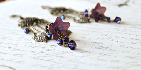 Hand,Dyed,Mulberry,Lucite,Flower,Chandelier,Earrings,lucite flower earrings, lucite earrings, chandelier earrings, lucite flower chandeliers, lucite jewelry, lucite fashion, purple earrings, chic earrings, urban chic earrings, vintage style earrings, brass earrings, romantic earrings
