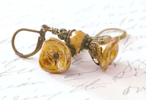 Czech,Flower,Earrings,in,Amber,flower earrings, beaded earrings, amber earrings, czech earrings, brass earrings, gift for her, budget friendly jewelry, jewelry on a budget, handmade earrings, canadian made,sahetah's jewelry