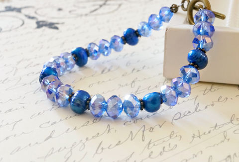 Cobalt,Blue,Crystal,and,Pearl,Bracelet,blue bracelet, pearl bracelet, crystal bracelet, chinese crystals, handmade bracelet, canadian made, made in canada, handmade jewelry, brass bracelet, simple bracelet, something blue, Sahetah's Jewelry