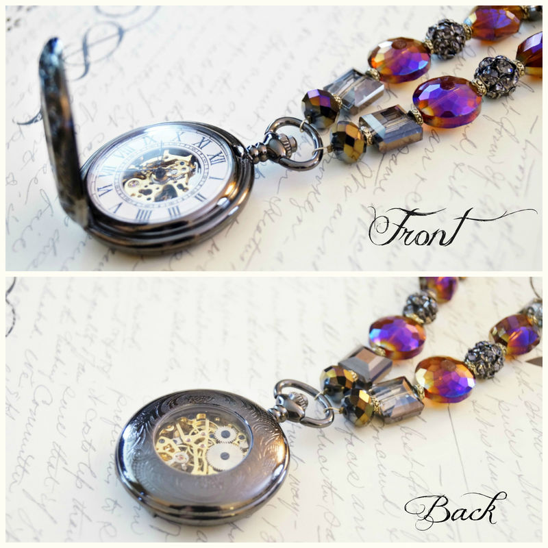 Chrome Mechanical Pocket Watch Necklace - product image