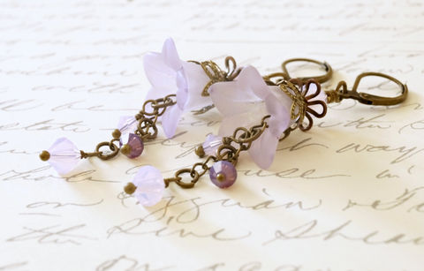 Violet,Lucite,Flower,Earrings,violet lucite flower earrings, vintage style earrings, hand dyed flower earrings, chic earrings, garden earrings, lucite flower jewelry, lucite bead jewelry, lucite beads, violet earrings, purple earrings, made in canada, canadian made, sahetah's jewelry