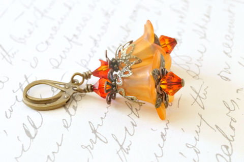 Orange,Fire,Lucite,Flower,Earrings,,Vintage,Style,Earrings,fairy earrings, wedding earrings, orange fire lucite flower earrings, vintage style earrings, orange earrings, fire earrings, swarovski crystal earrings, chic earrings, summer earrings, stylish earrings, handmade earrings, handcrafted earrings, handmade o