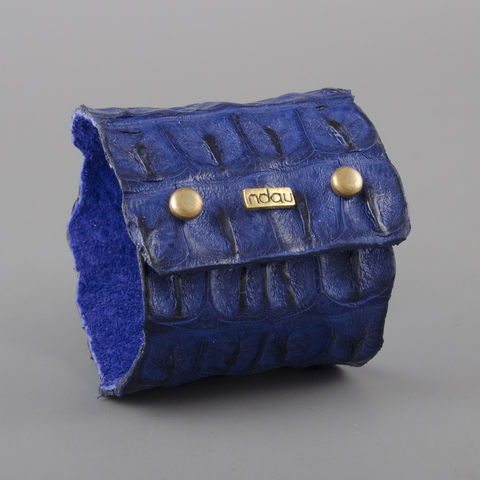 Crocodile,Backskin,Leather,Rock,Cuff,with,Double,Holster,in,Electric,Blue,cuff, crocodile, croc, alligator, leather, holster, stud, exotic, wrap, ndau, ndau collection, victoria falls, zimbabwe, africa, jewelry, jewellery