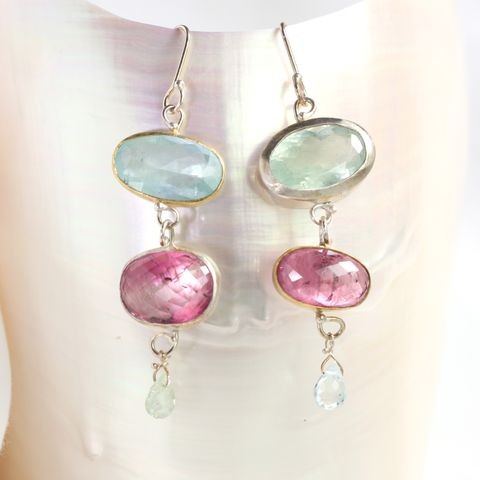 Miss,Matched:,Aquamarine,&,Pink,Tourmaline,Earrings,unique handcrafted jewelry, handcrafted artisan jewelry, unique gemstone jewelry, unique stone jewelry, handmade jewelry, New Orleans, aquamarine+pink+tourmaline+earrings, mis matched earrings, pink+blue+earrings, handmade aquamarine earrings,