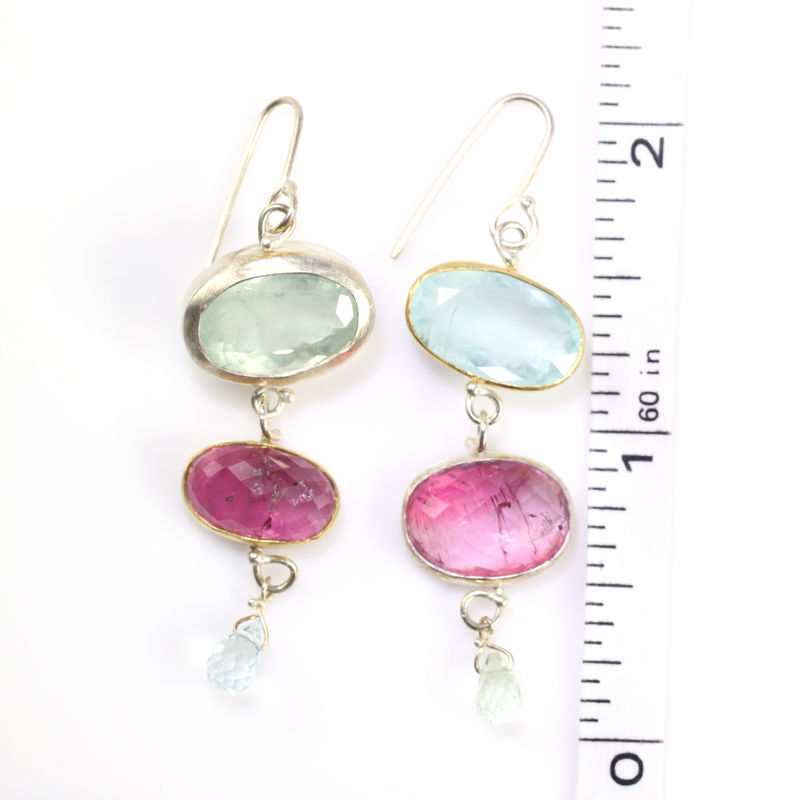 Miss Matched: Aquamarine & Pink Tourmaline Earrings - product images  of