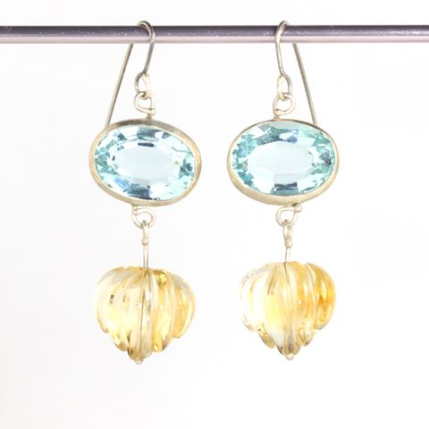 Santa,Maria,Aquamarine,Earrings,with,Carved,Citrine,Drops,unique handcrafted jewelry, handcrafted artisan jewelry, unique gemstone jewelry, unique stone jewelry, handmade aquamarine jewelry, aquamarine+citrine+earrings, citrine earrings, carved citrine earrings, blue+yellow+earrings