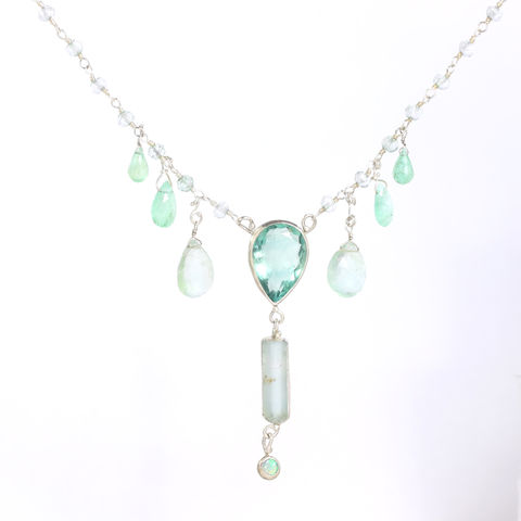 Fluorite,&,Raw,Aquamarine,Crystal,Necklace,Pendant,with,Emeralds,Opal,Green,Amethyst,unique handcrafted jewelry, handcrafted artisan jewelry, unique gemstone jewelry, unique stone jewelry, handmade raw aquamarine necklace, raw aquamarine jewelry, raw aquamarine crystal necklace, aquamarine+flourite+necklace, aquamarine+emerald+green+ameth