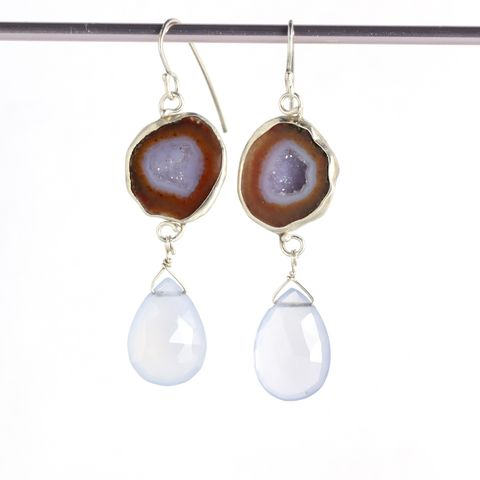 Baby,Geode,Earrings,with,Lavender,Chalcedony,Briolettes,unique handcrafted jewelry, handcrafted artisan jewelry, unique gemstone jewelry, unique stone jewelry, baby geode jewelry, geode jewelry, geode slice earrings, baby geode earrings, tabasco geode earrings, geode+chalcedony+earrings