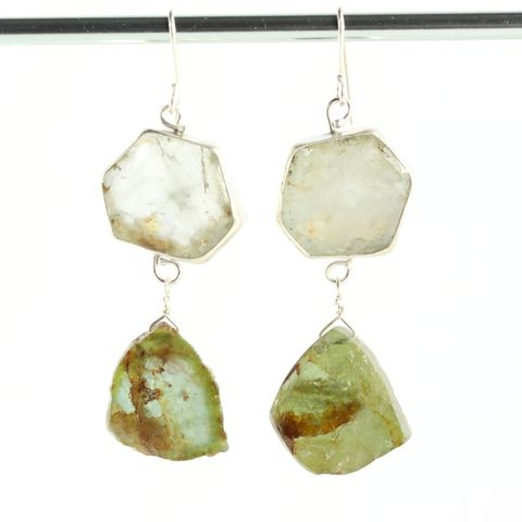 Green,Beryl,Crystal,&,Raw,Tourmaline,Slice,Earrings,unique handcrafted jewelry, handcrafted artisan jewelry, unique gemstone jewelry, unique stone jewelry, handmade jewelry, green tourmaline earrings, green tourmaline slice earrings, green beryl+tourmaline+earrings, handmade green tourmaline earrings