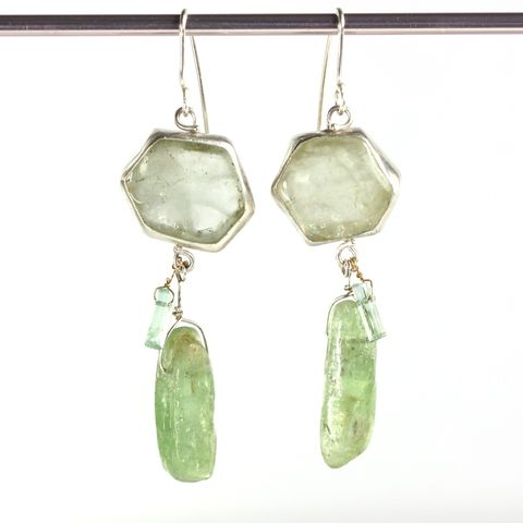Green,Beryl,Slice,Earrings,With,Kyanite,&,Raw,Tourmaline,Crystals,unique handcrafted jewelry, handcrafted artisan jewelry, unique gemstone jewelry, unique stone jewelry, handmade jewelry, emerald earrings, green beryl earrings, green beryl+kyanite+earrings, slice earrings, emerald slice earrings